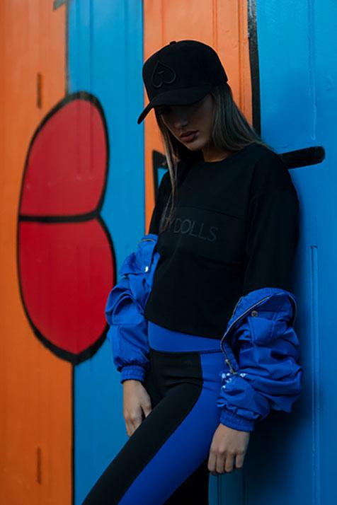 Guilty Dolls London   Activewear   High Waisted Black Leggings   True Blue